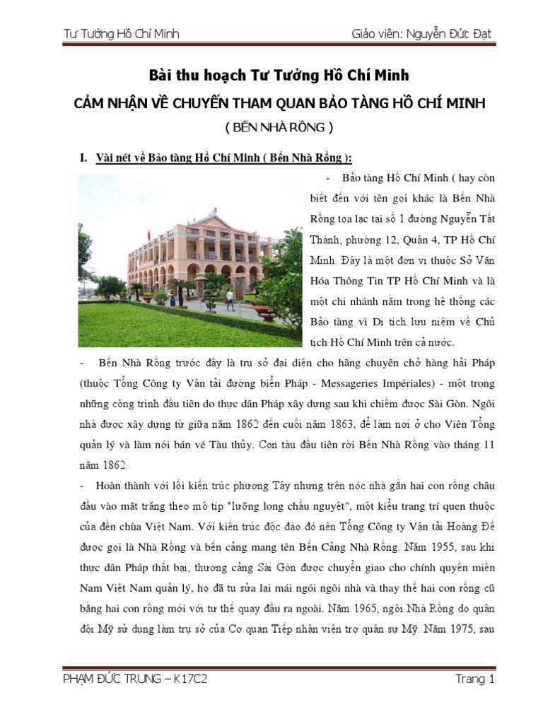 bài thu hoạch bảo tàng Hồ Chí Minh