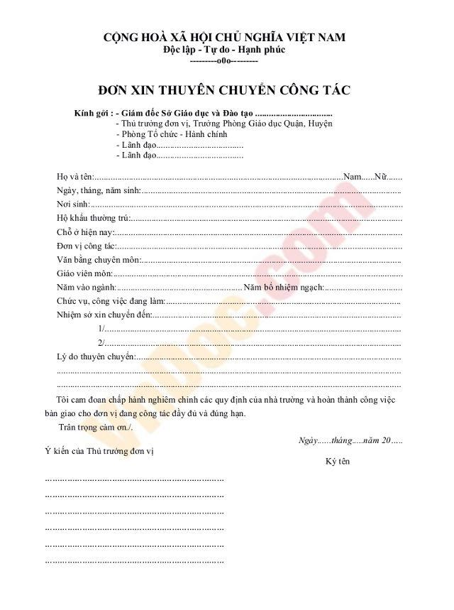mẫu đơn xin chuyển trường của giáo viên