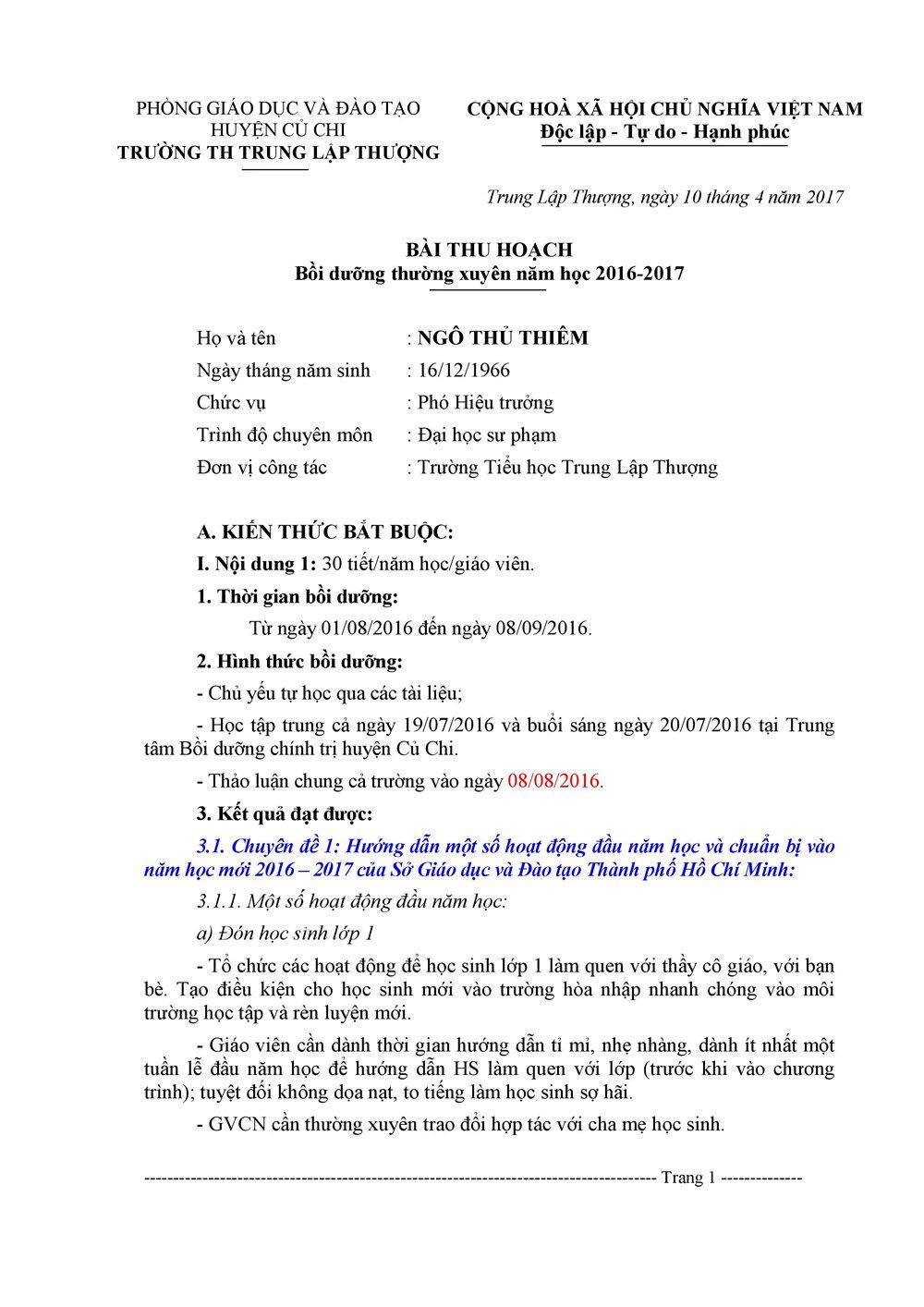 bài thu hoạch bồi dưỡng thường xuyên thcs module 6