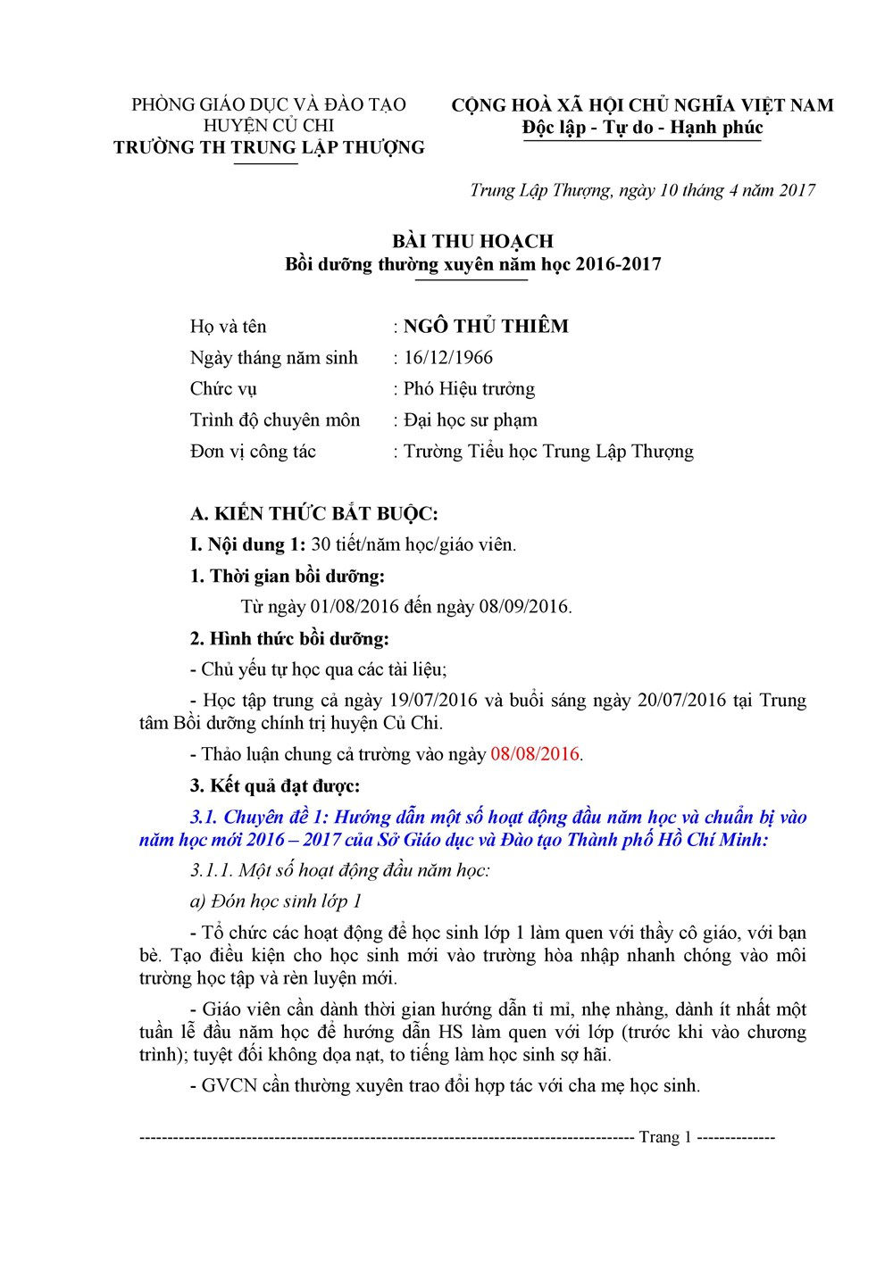 bài thu hoạch modun 15 tiểu học