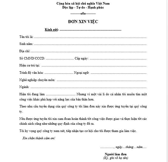 mẫu đơn xin việc