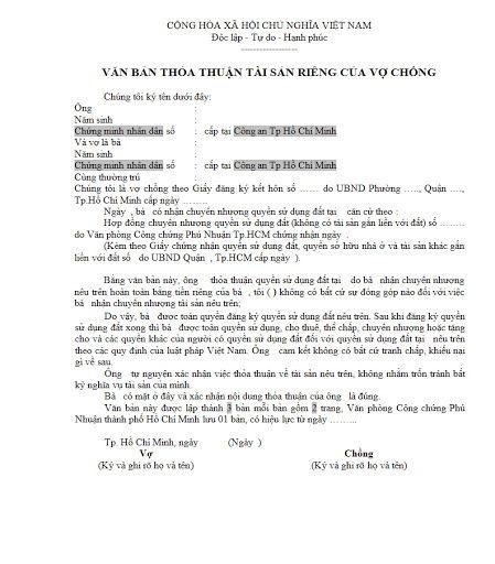 van bản thỏa thuận tài sản riêng của vợ chồng