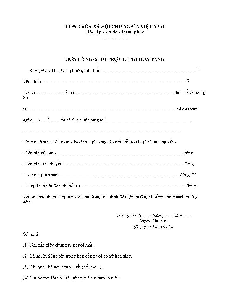 đơn đề nghị hổ trợ chi phí hỏa táng