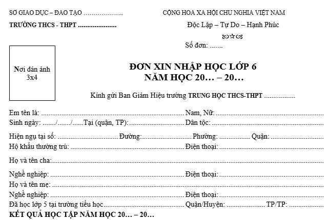 don-xin-nhap-hoc