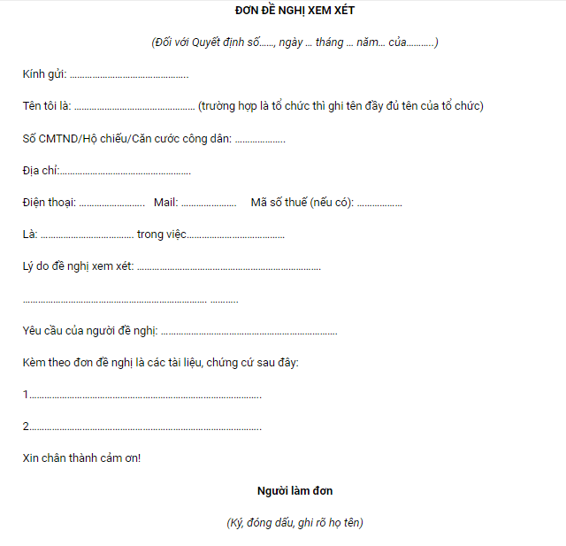 mẫu đơn đề nghị