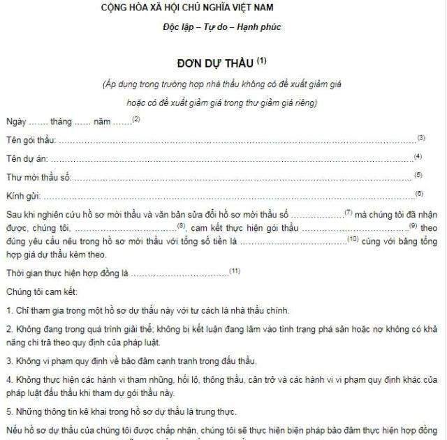 mẫu đơn xin nhận thầu