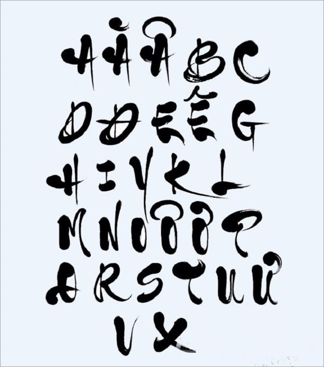 Bảng chữ cái thư pháp tiếng Việt in hoa và in thường đẹp dễ viết