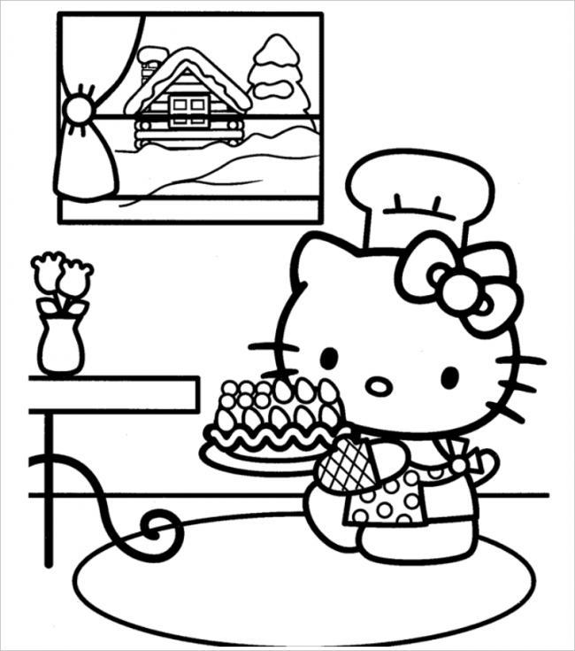 100 mẫu tranh tô màu Hello Kitty đẹp siêu cool dành cho các bé gái